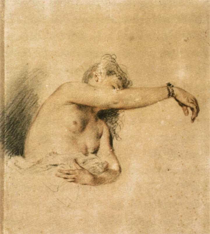 Nude with Right Arm Raised - Antoine Watteau
