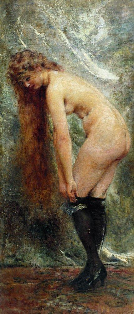Nude Woman in Black Stockins - Konstantin Makovsky