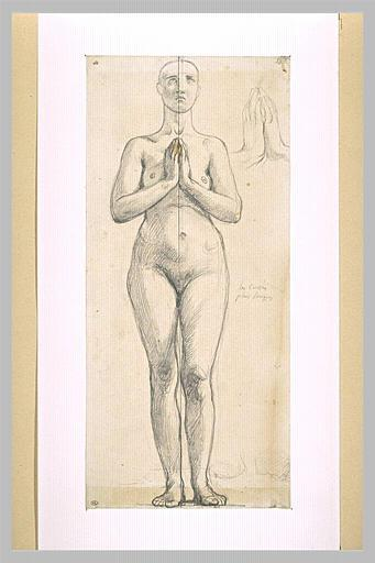 Nude woman standing, front view, hands clasped in front of the chest - Jean Auguste Dominique Ingres