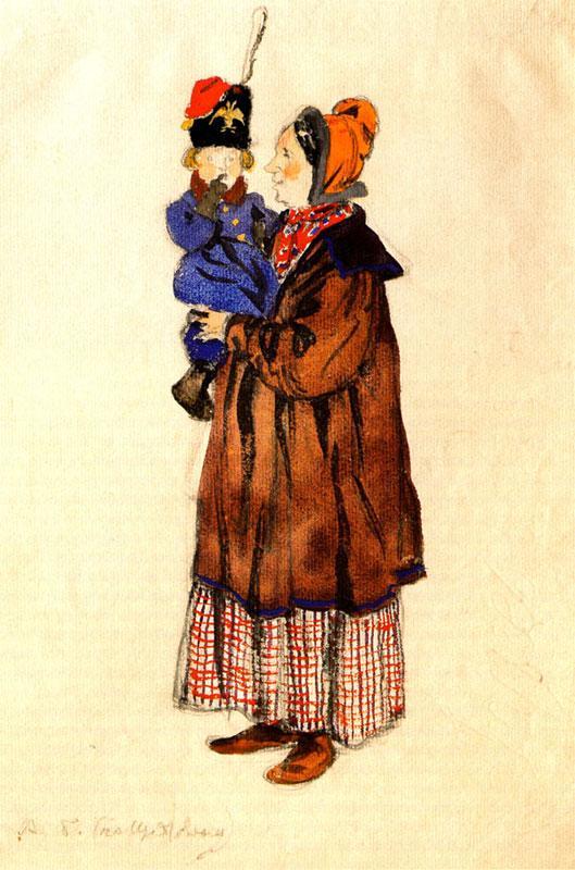 Nurse and child. Costume design - Alexandre Benois