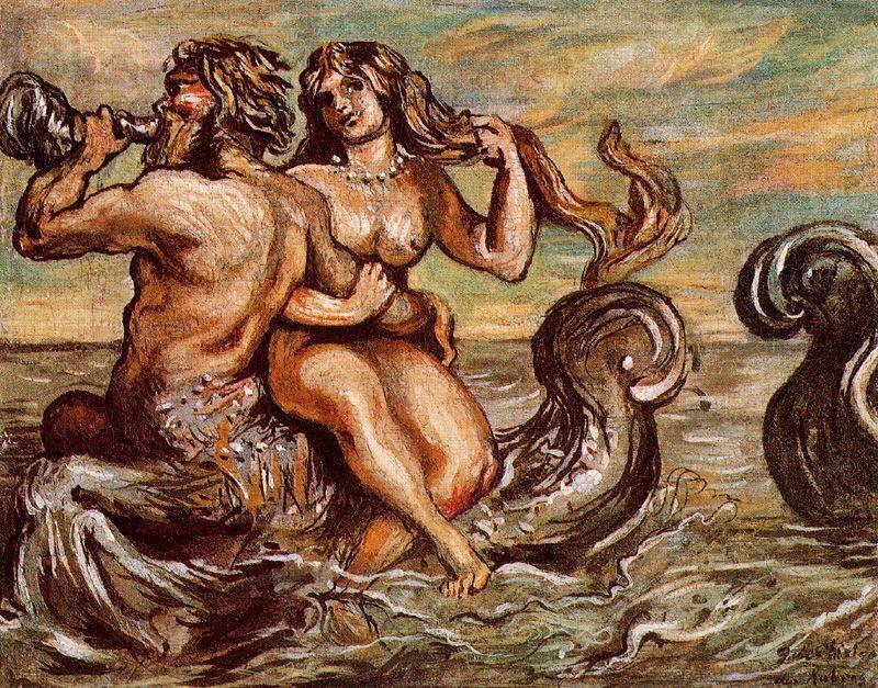 Nymph with Triton - Giorgio de Chirico