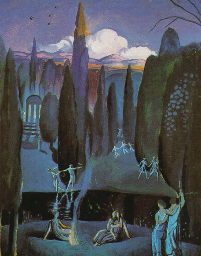 Nymphs in a Romantic, Garden - Salvador Dali