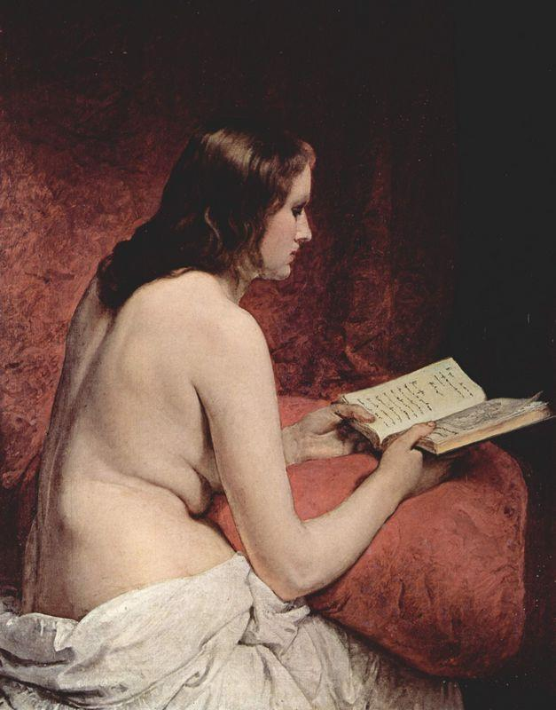 Odalisque with Book - Francesco Hayez