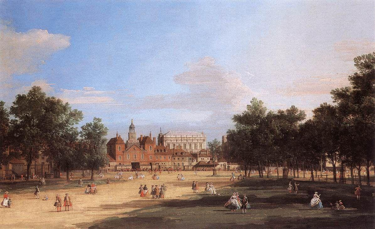 Old Horse Guards and the Banqueting Hall, Whitehall from St. James's Park - Canaletto