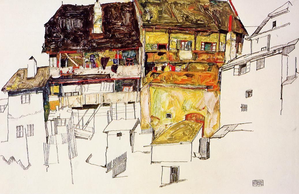 Old Houses in Krumau - Egon Schiele