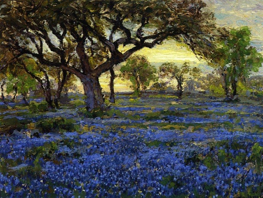 Old Live Oak Tree and Bluebonnets on the West Texas Military Grounds, San Antonio - Robert Julian Onderdonk