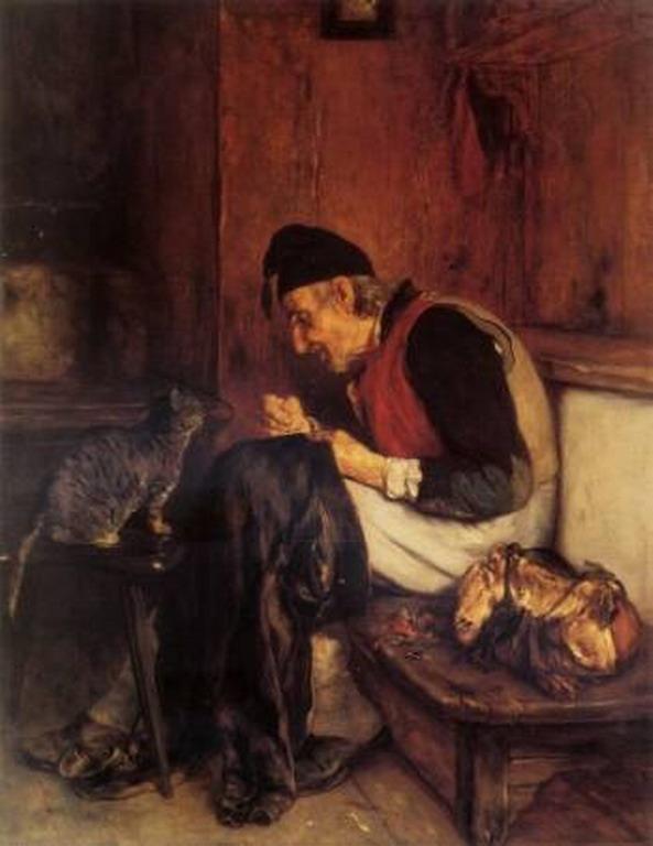 Old Man that sew - Nikolaos Gyzis