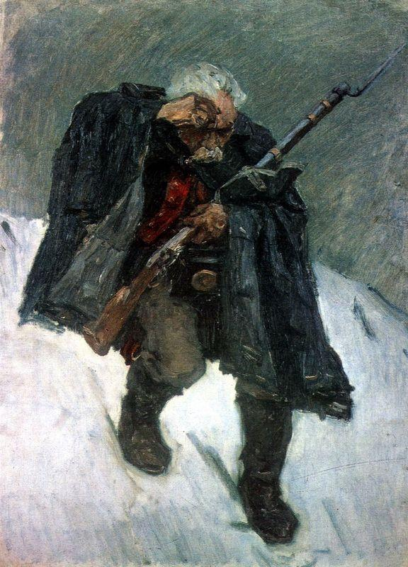 Old soldier descending from the snowy mountain - Vasily Surikov