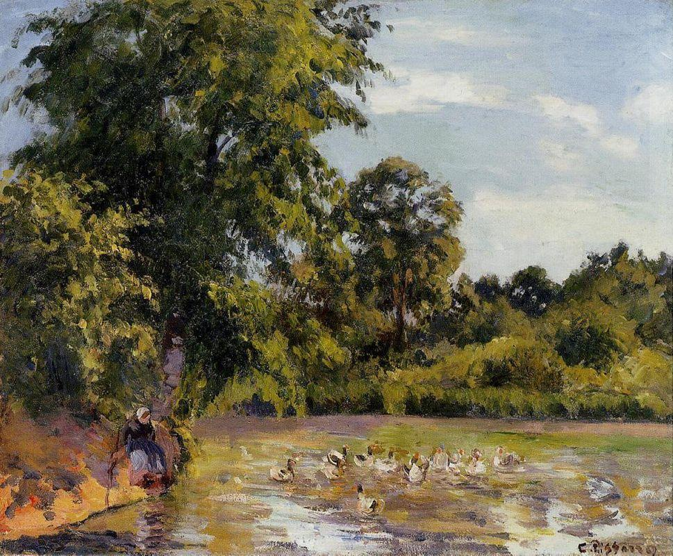 Old Woman with Ducks at Montfoucault - Camille Pissarro