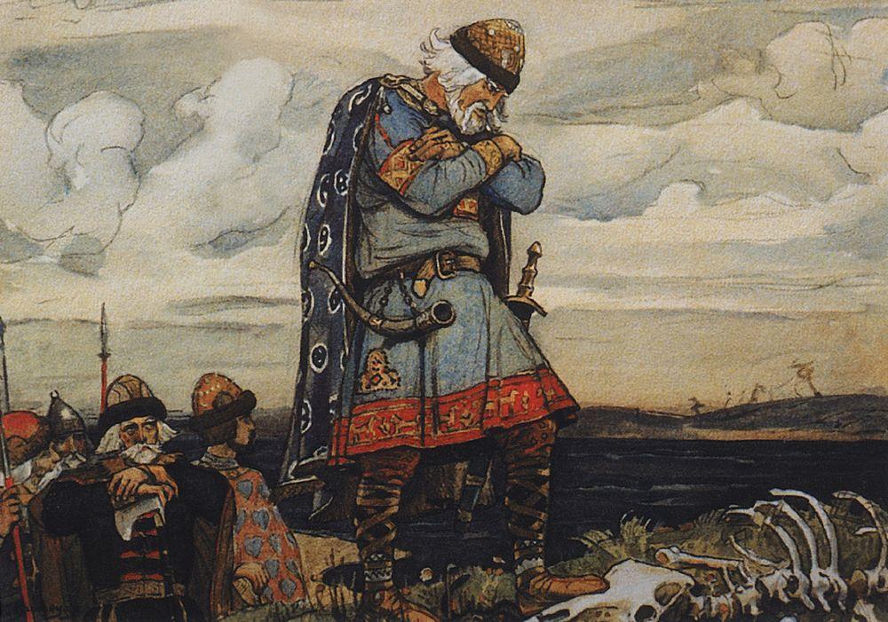 Oleg at his horse`s remains - Viktor Vasnetsov