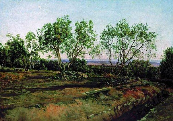 Olive trees by the cemetery in Albano. New Moon. - Alexander Ivanov