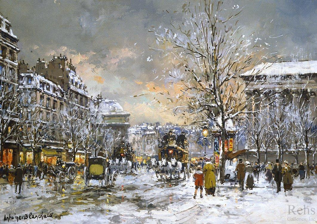 Omnibus on the place de la Madeleine, Winter - Antoine Blanchard