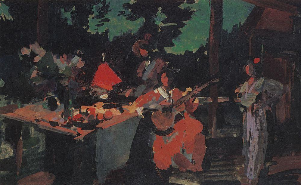 On a Terrace. Evening in the Coutry - Konstantin Korovin