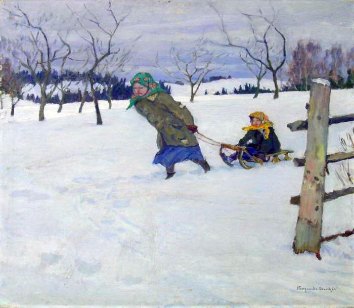 On a Visit to the Grandmother - Nikolay Bogdanov-Belsky