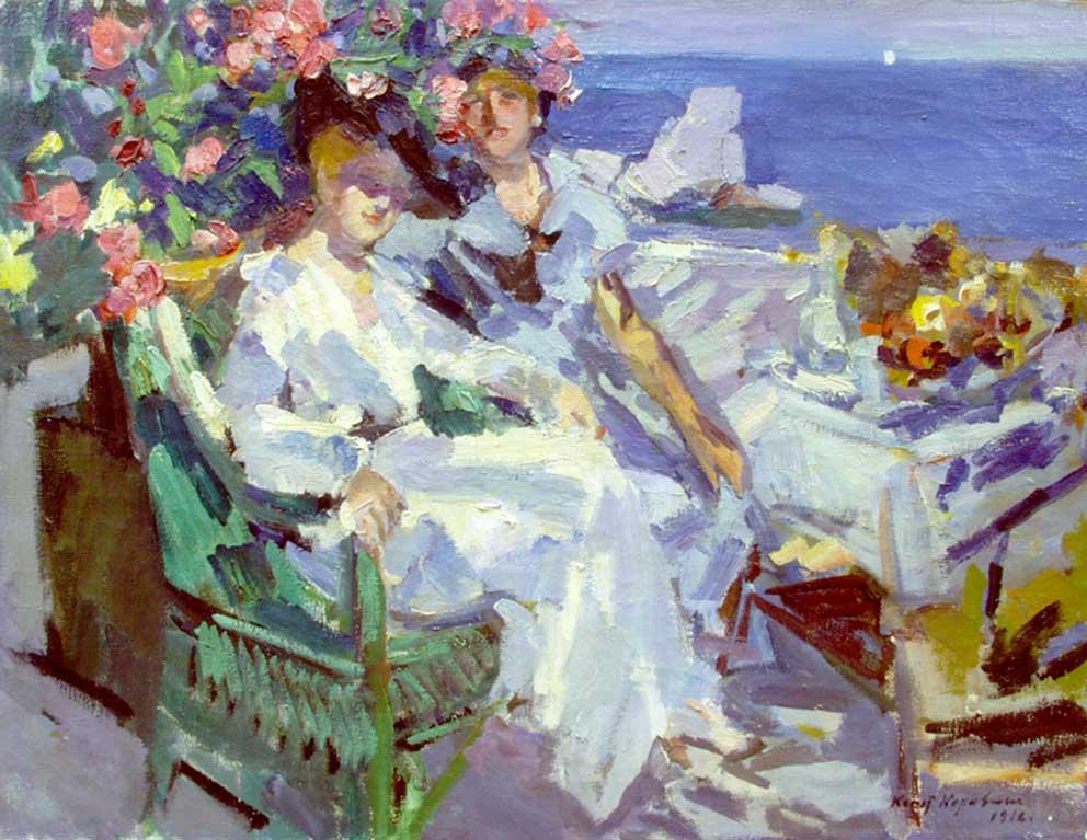 On terrace - Konstantin Korovin