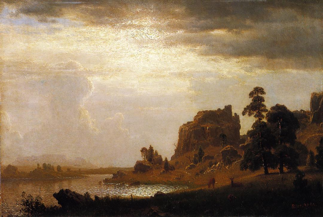 On the Sweetwater Near the Devil's Gate, Nebraska  - Albert Bierstadt