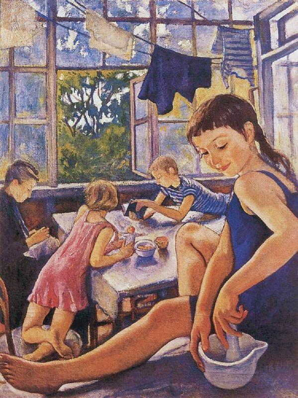 On the terrace in Kharkov - Zinaida Serebriakova