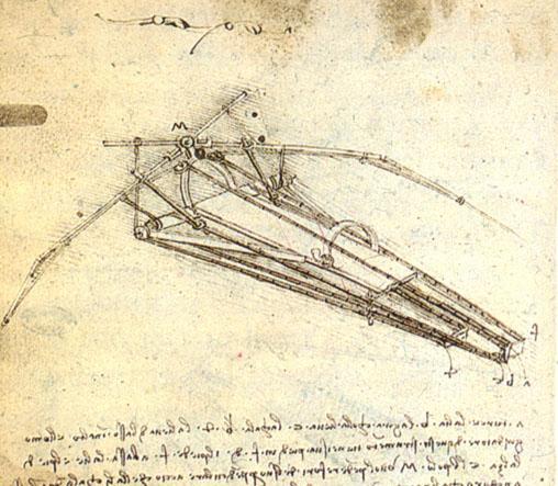 One of Leonardo da Vinci's designs for an Ornithopter - Leonardo da Vinci