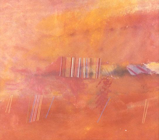 Orange Line Painting - Ronnie Landfield