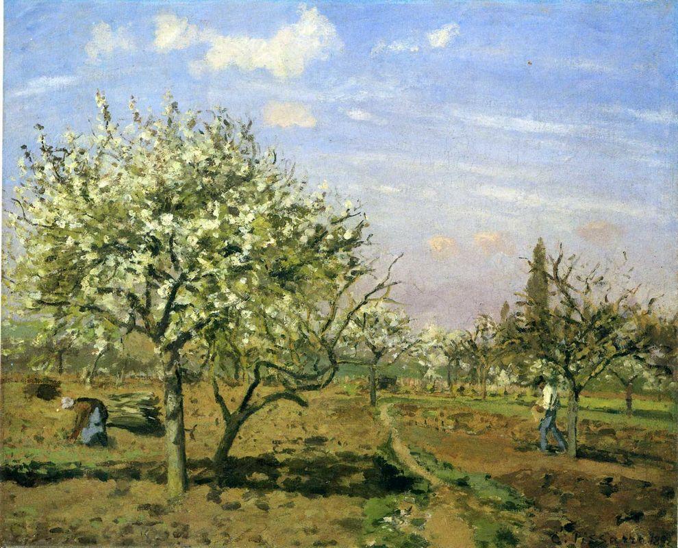 Orchard in Blossom, Louveciennes - Camille Pissarro