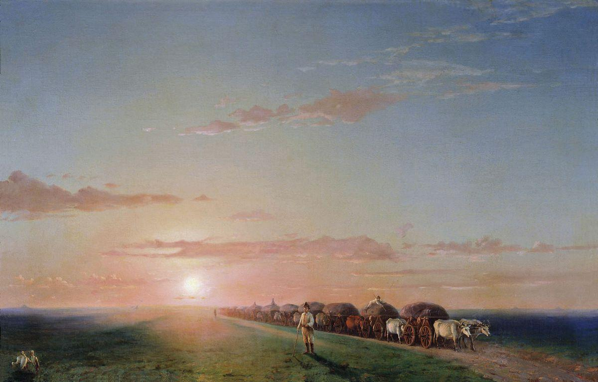 Ox train on the steppe - Ivan Aivazovsky