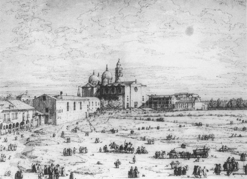 Padua: The Prato della Valle with Santa Giustinia and the Church of Misericordia - Canaletto
