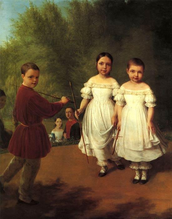 Panaevs children - Alexey Venetsianov