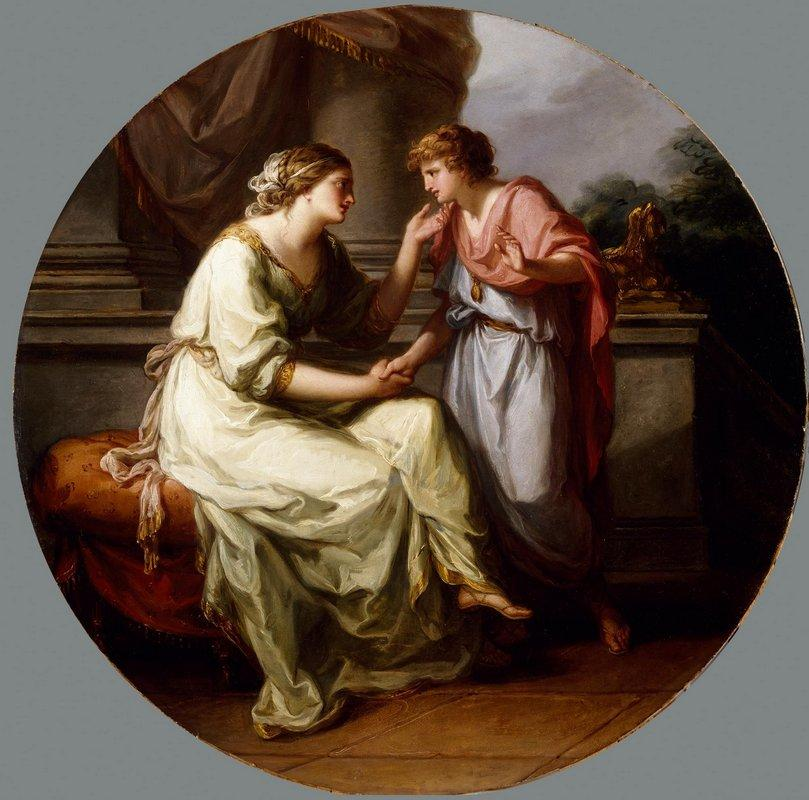 Papirius Praetextatus Entreated by his Mother to Disclose the Secrets of the Deliberations of the Roman Senate  - Angelica Kauffman