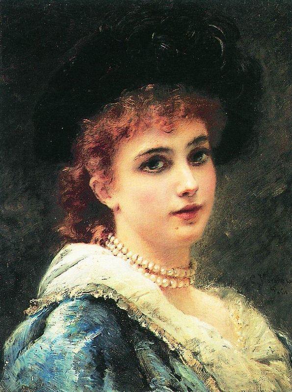 Parisienne in pearl necklace - Konstantin Makovsky