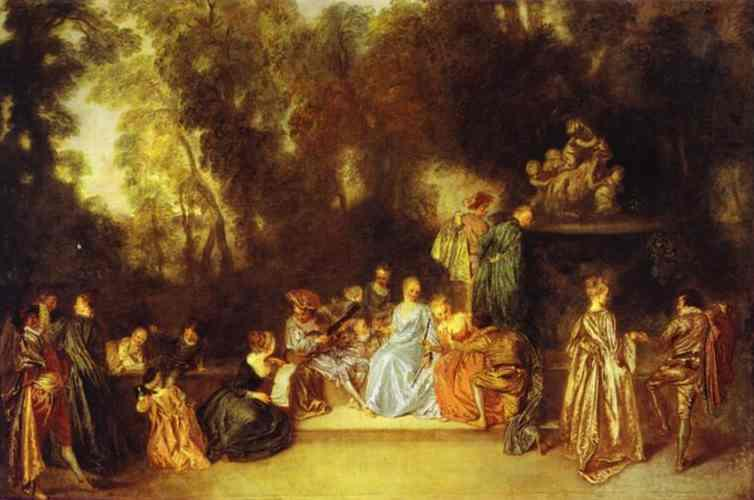 Party in the Open Air - Antoine Watteau