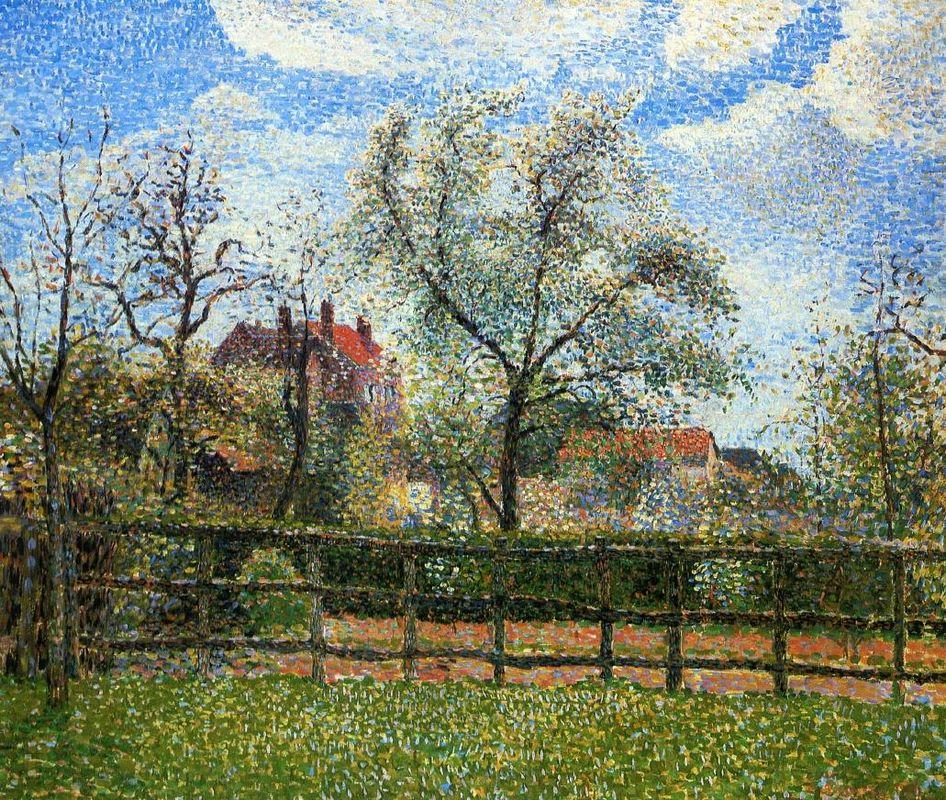 Pear Trees and Flowers at Eragny, Morning - Camille Pissarro