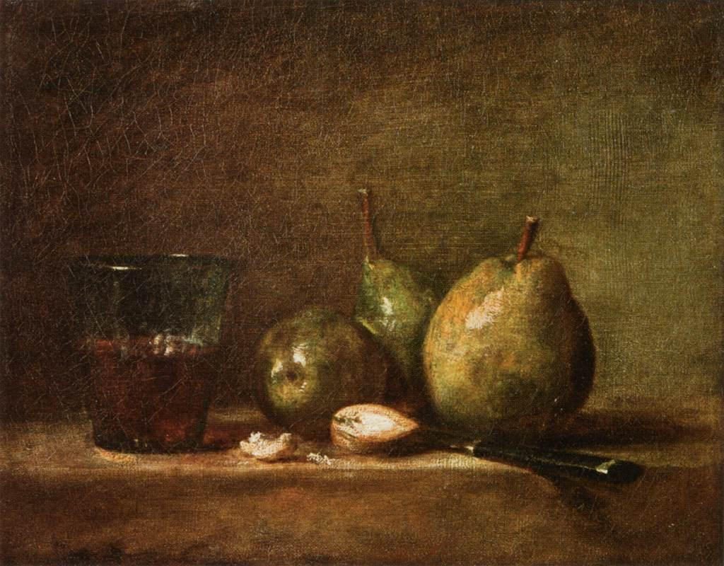Pears, Walnuts and Glass of Wine - Jean-Baptiste-Simeon Chardin