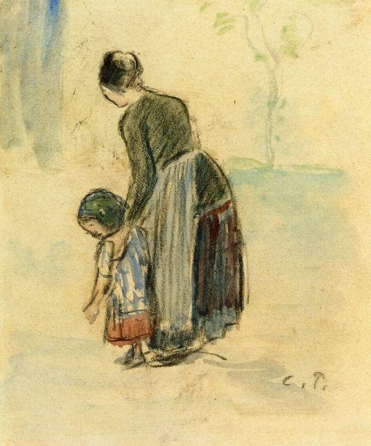 Peasant and Child - Camille Pissarro