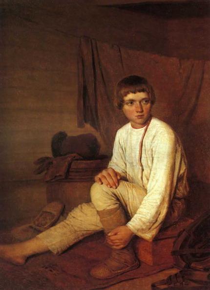 Peasant Boy Putting on Bast Sandals - Alexey Venetsianov