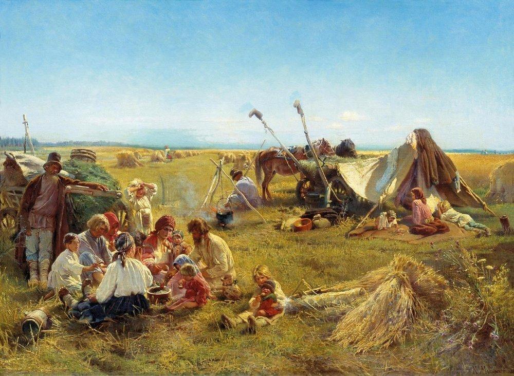 Peasant Dinner during Harvesting - Konstantin Makovsky