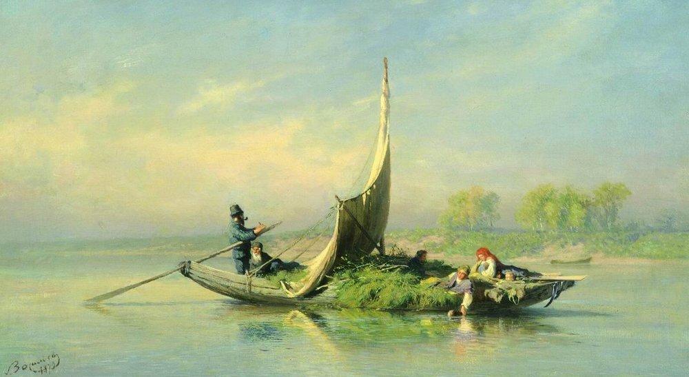 Peasant Family in a Boat - Fyodor Vasilyev