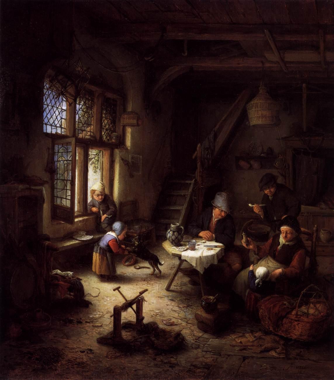 Peasant Family in a Cottage Interior - Adriaen van Ostade