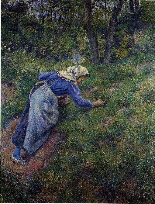 Peasant Gathering Grass - Camille Pissarro