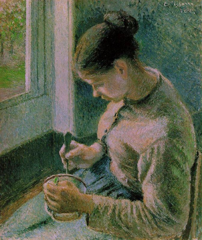 Peasant girl drinking her coffee - Camille Pissarro