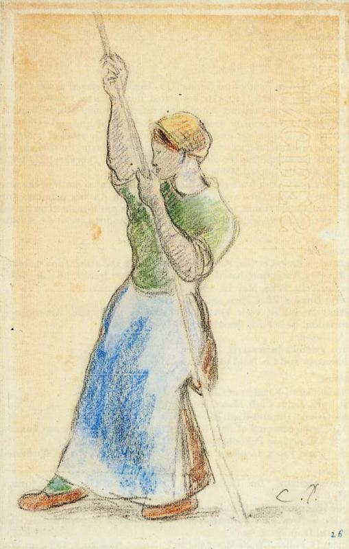 Peasant Planting Pea Sticks - Camille Pissarro