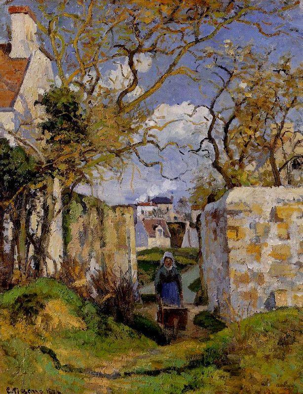 Peasant Pushing a Wheelbarrow, Maison Rondest, Pontoise - Camille Pissarro