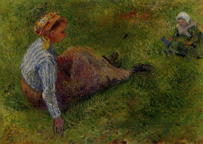 Peasant Sitting with Infant - Camille Pissarro
