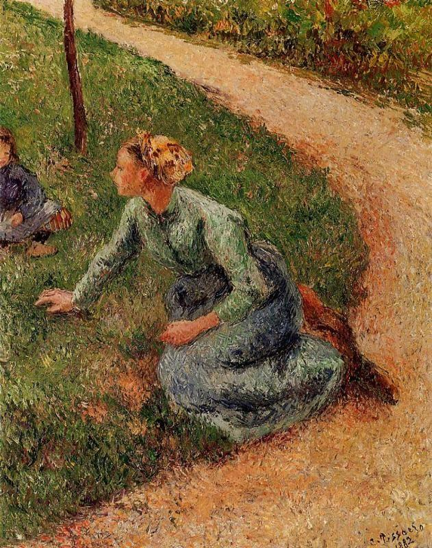Peasant Trimming the Lawn - Camille Pissarro