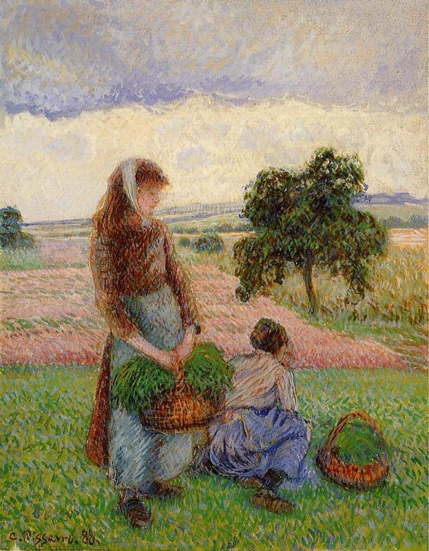 Peasant Woman Carrying a Basket - Camille Pissarro