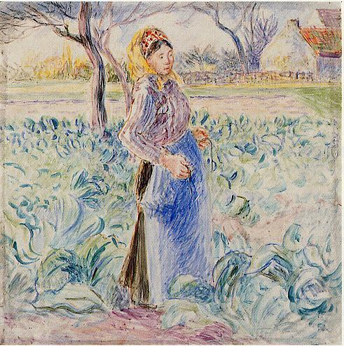 Peasant Woman in a Cabbage Patch - Camille Pissarro