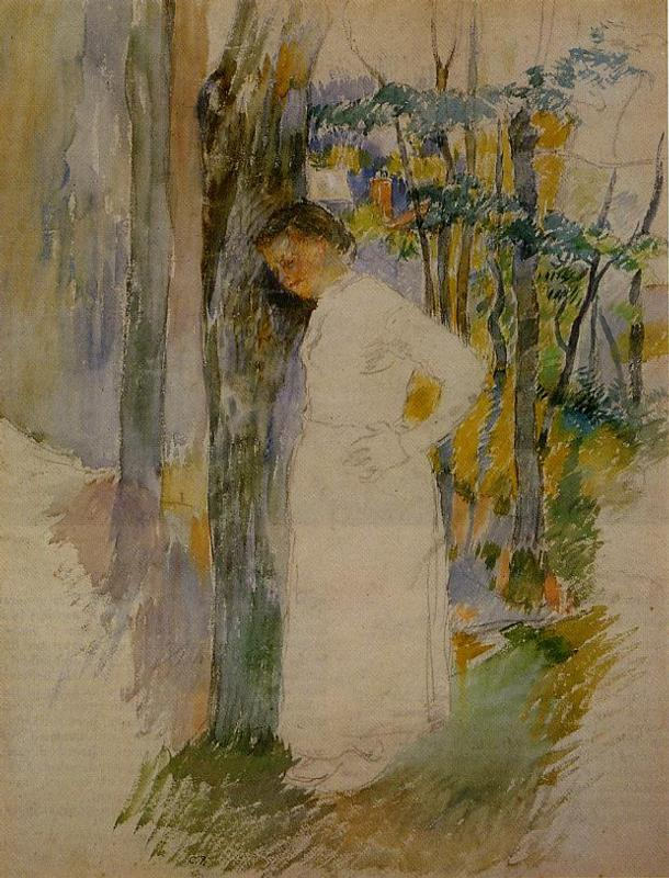 Peasant Woman Standing next to a Tree - Camille Pissarro