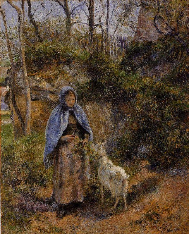 Peasant Woman with a Goat - Camille Pissarro