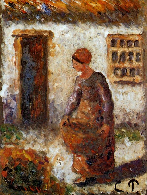 Peasant woman with basket - Camille Pissarro