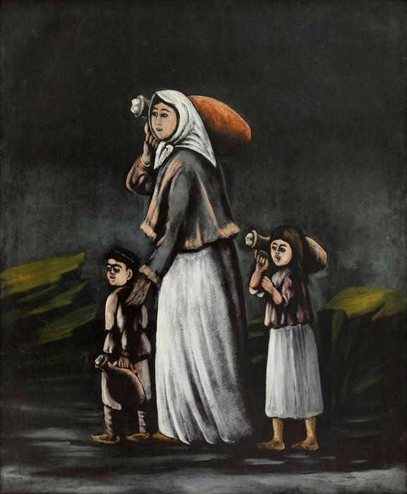 Peasant Woman with Children Goes for Water - Niko Pirosmani