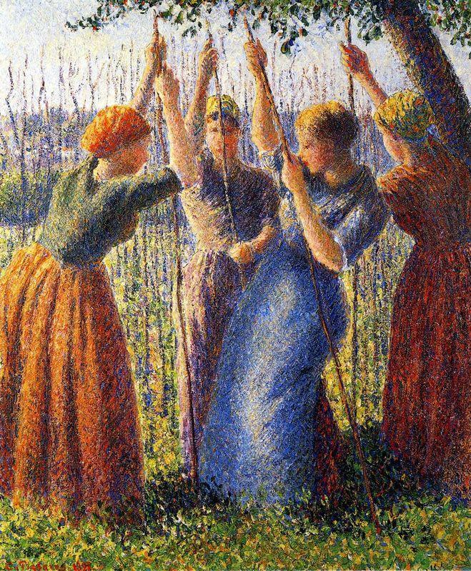 Peasant Women Planting Stakes - Camille Pissarro
